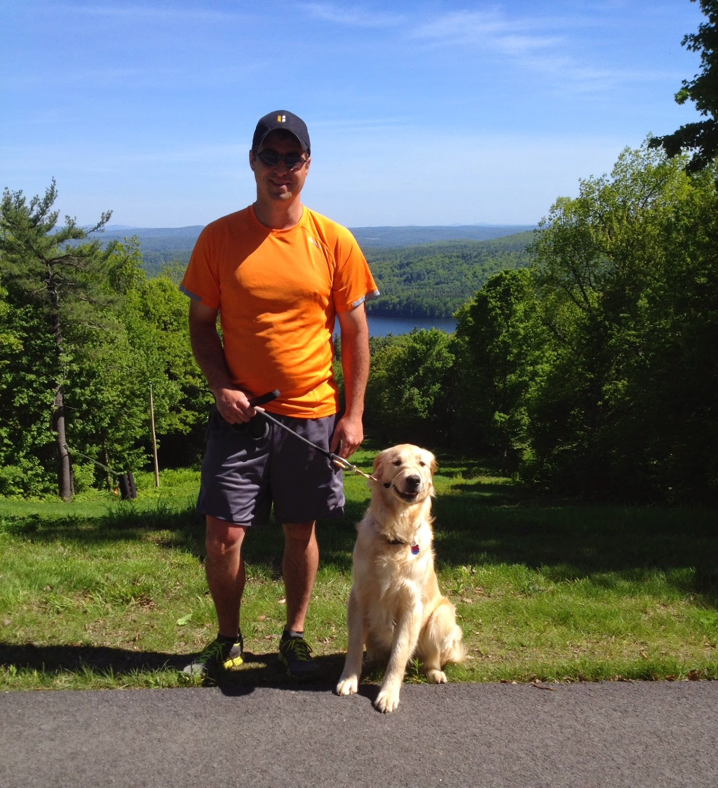 living a healthy lifestyle by hiking with your golden retriever dog