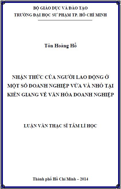 Nhận thức của người lao động ở một số doanh nghiệp vừa và nhỏ tại Kiên Giang về văn hóa doanh nghiệp