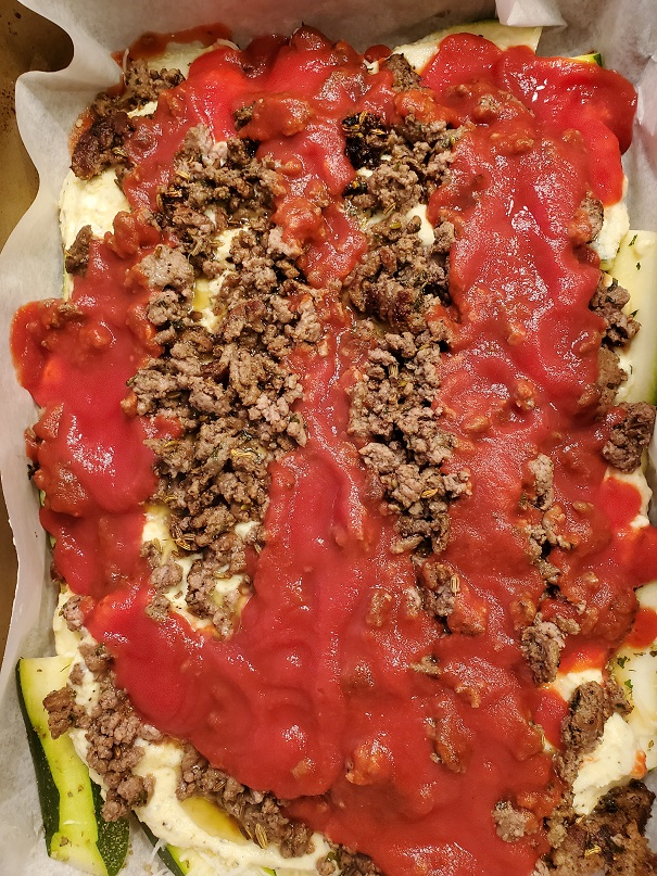 this is sliced zucchini layered with sauce meat and cheeses