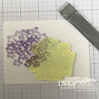 Hydrangea Masking - Step 2:  Create a post-it mask, cover stamped image and stamp 2nd hydrangea