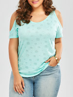 Cold Shoulder Plus Size Plain T-Shirt - Windsor Blue