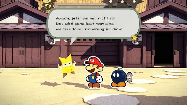 Screenshot vom Gameplay in Paper Mario: Origami King. Gezeigt wird Mario im Gespräch mit Origami-Figur Olivia