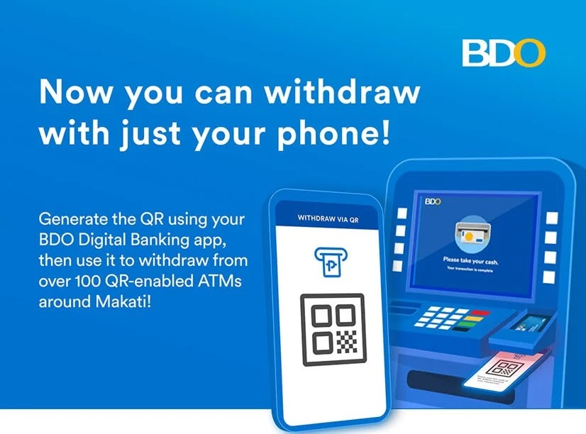 Withdraw Cash from BDO ATMs using QR code; No Need for Card!