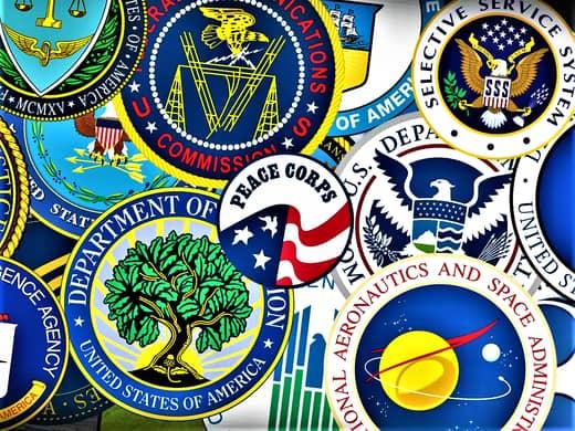 American bureaucracy seals.