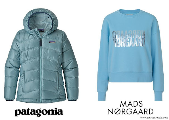 Princess Athena wore Patagonia Hi-Loft Down Sweater Hooded Jacket and Mads Nørgaard Organic Sweatshirt Talinka Alaskan Blue