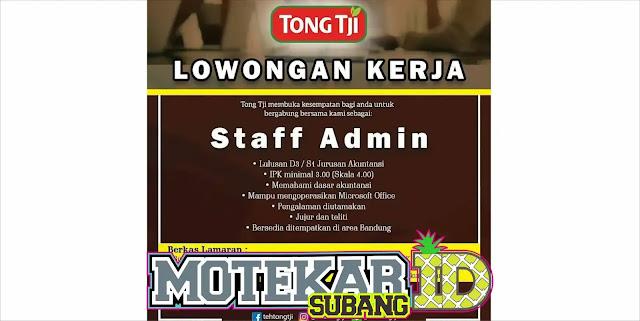 Lowongan Kerja Staff admin Tongtji Bandung 2019