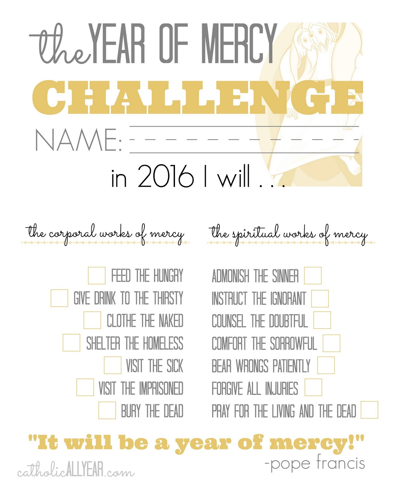 Catholic All Year The Year Of Mercy Family Challenge