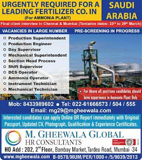 Fertilizer company Required in Saudi Arabia