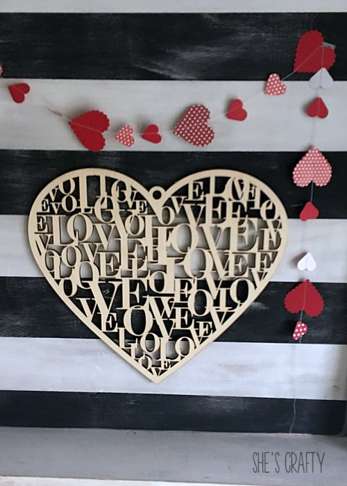 wooden laser cut heart. wood heart, paper heart garland