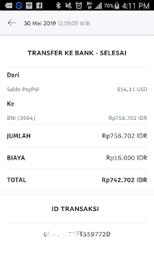 Bukti Pembayaran 50 Dollar dari Aplikasi Wesing Android