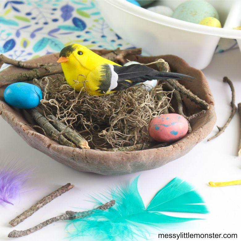 playdough bird nest nature craft for kids