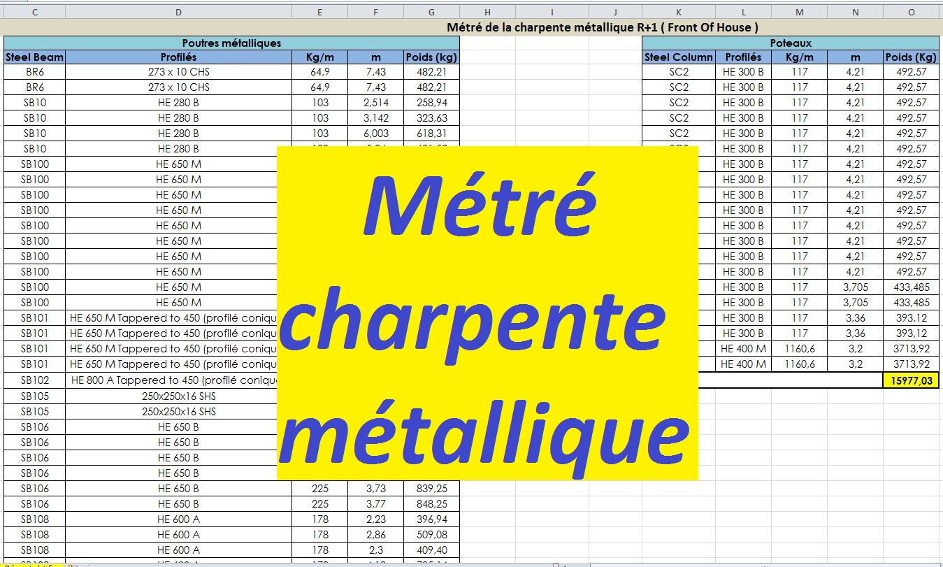 Feuille de calcul excel charpente metallique xls cours - Calcul d un hangar en charpente metallique ...