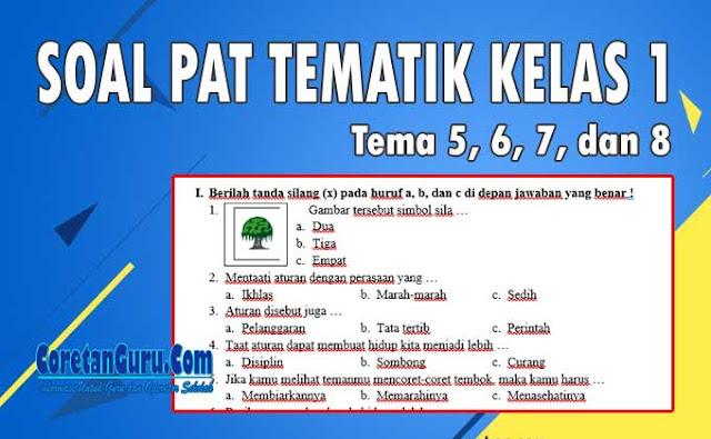 Soal PAT Tematik Kelas 1 SD Kurikulum 2013 Tema 5, 6, 7 dan 8