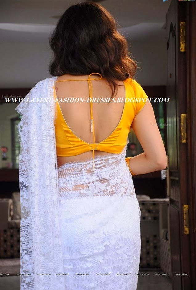 WHITE LACE SAREE WITH YELLOW BACK LESS BLOUSE