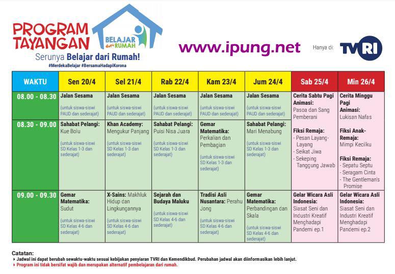 Jadwal TVRI dan Materi Belajar dari Rumah Minggu Ke-2 (20-26 April 2020)