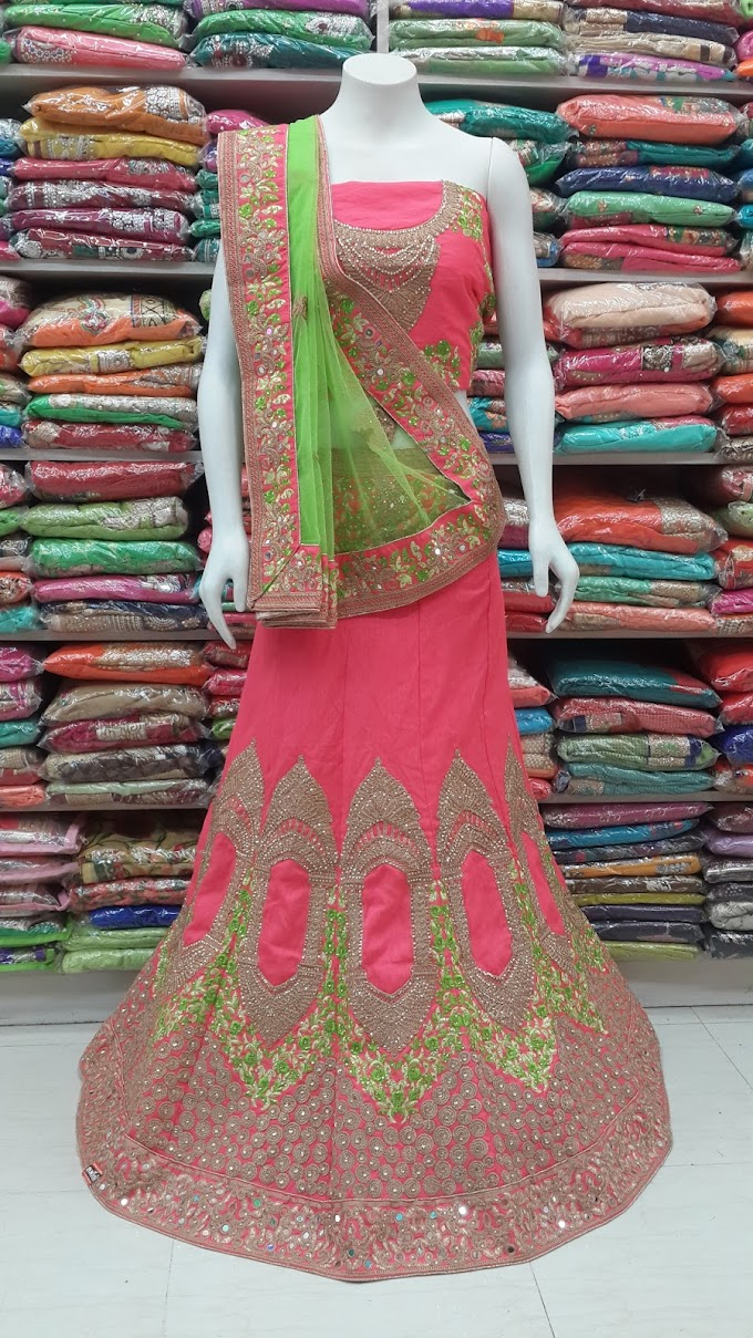 designer bridal lehenga gajri and perrot combation by sharmili saree new stock reddy