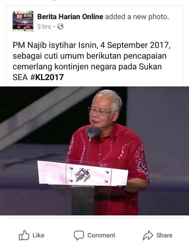 4 September 2017 Diisytihar Cuti Umum Sempena Kemenangan Sukan SEA 2017