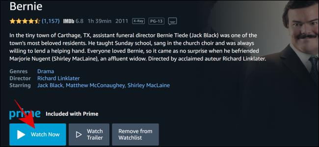 """حدد """"شاهد الآن"""" على Amazon Prime Video."""