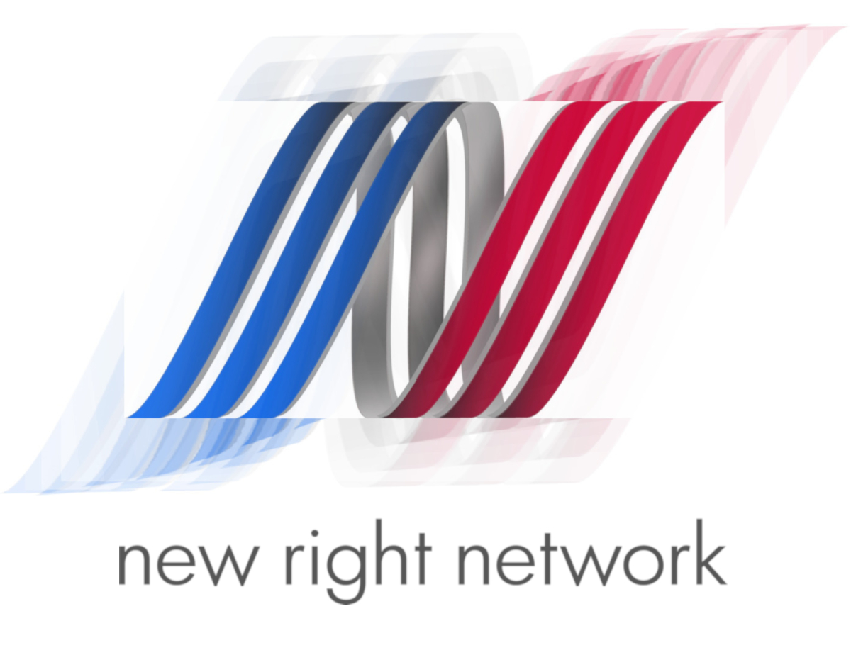 New Right Network logo with spiral effect