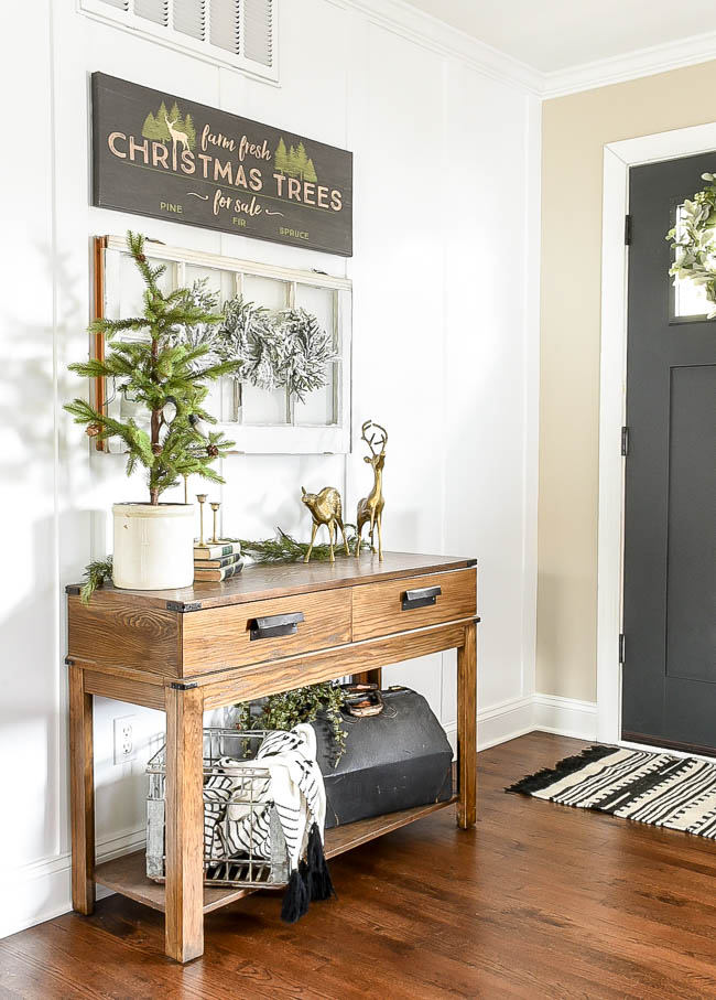 Neutral Christmas decor using white, black and brass