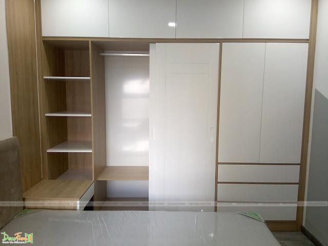 Hình thực tế thiết kế và thi công xây dựng thô đến hoàn thiện full nội thất căn hộ chung cư Saigon South Residences Phú Mỹ Hưng - SSR - Phòng ngủ