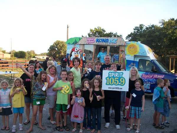 Kona Ice and the local radio station Spirit 105.9 traveled throughout the Austin area, doing a remote broadcast from many different VBS events. Though this was not strictly speaking an Awana event, it involved the same kids and the same volunteers, so why not? :-)