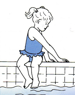 Image of little girl sitting on the edge of a pool turning to one side and placing both hands on the same side edge. This is the start of a safe water entry