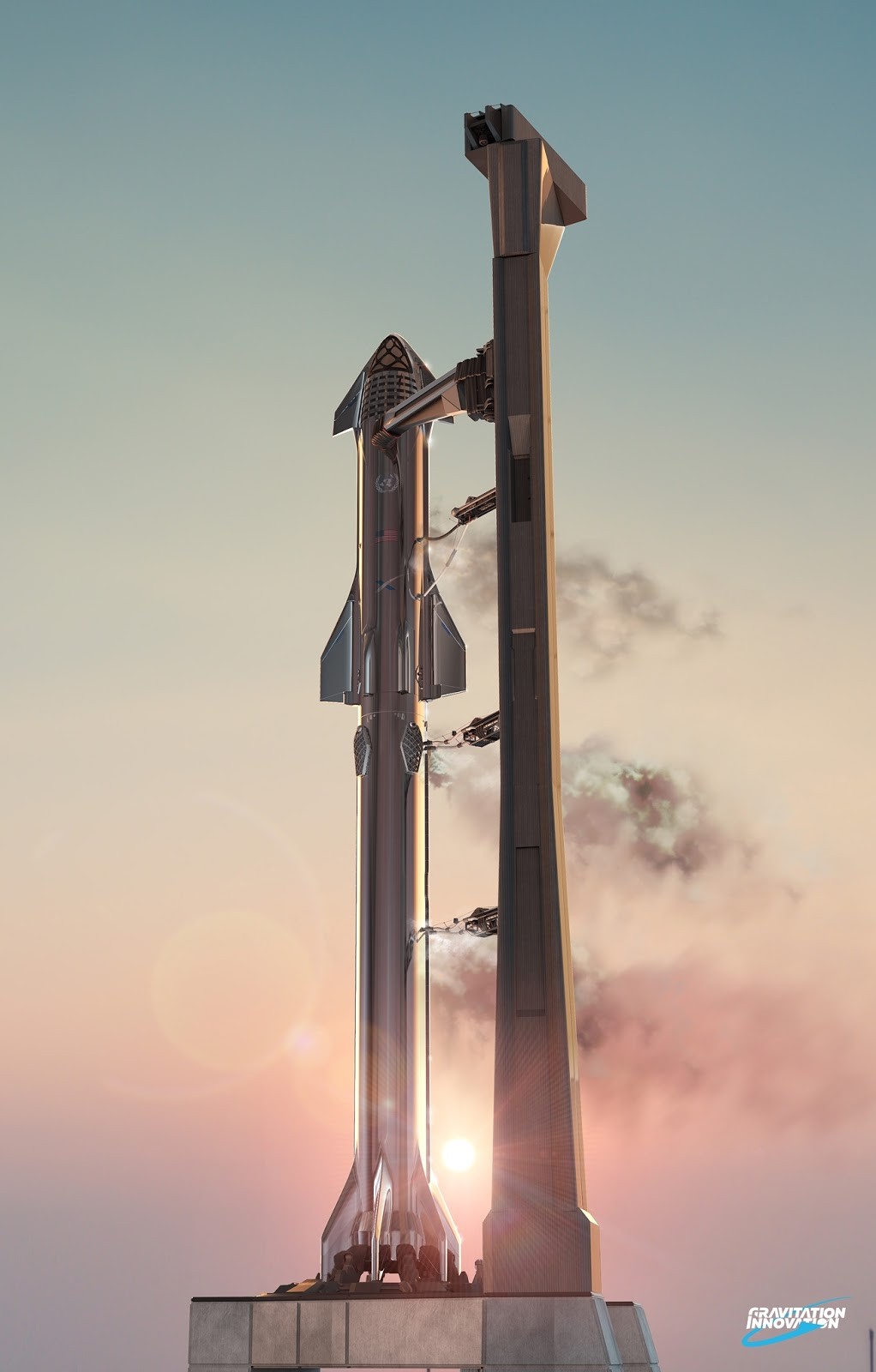 SpaceX Starship Super Heavy on launch pad by Gravitation Innovation