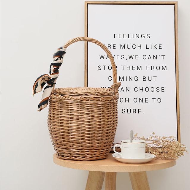 Affordable Basket Bag with Scarf