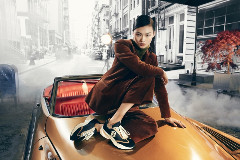 Model He Cong fronts Tory Burch fall-winter 2021 campaign.