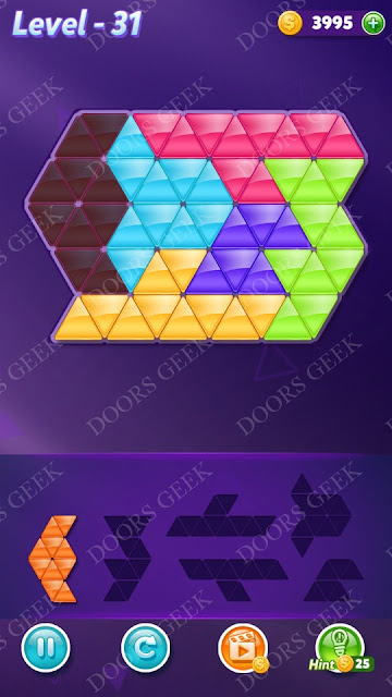 Block! Triangle Puzzle Intermediate Level 31 Solution, Cheats, Walkthrough for Android, iPhone, iPad and iPod
