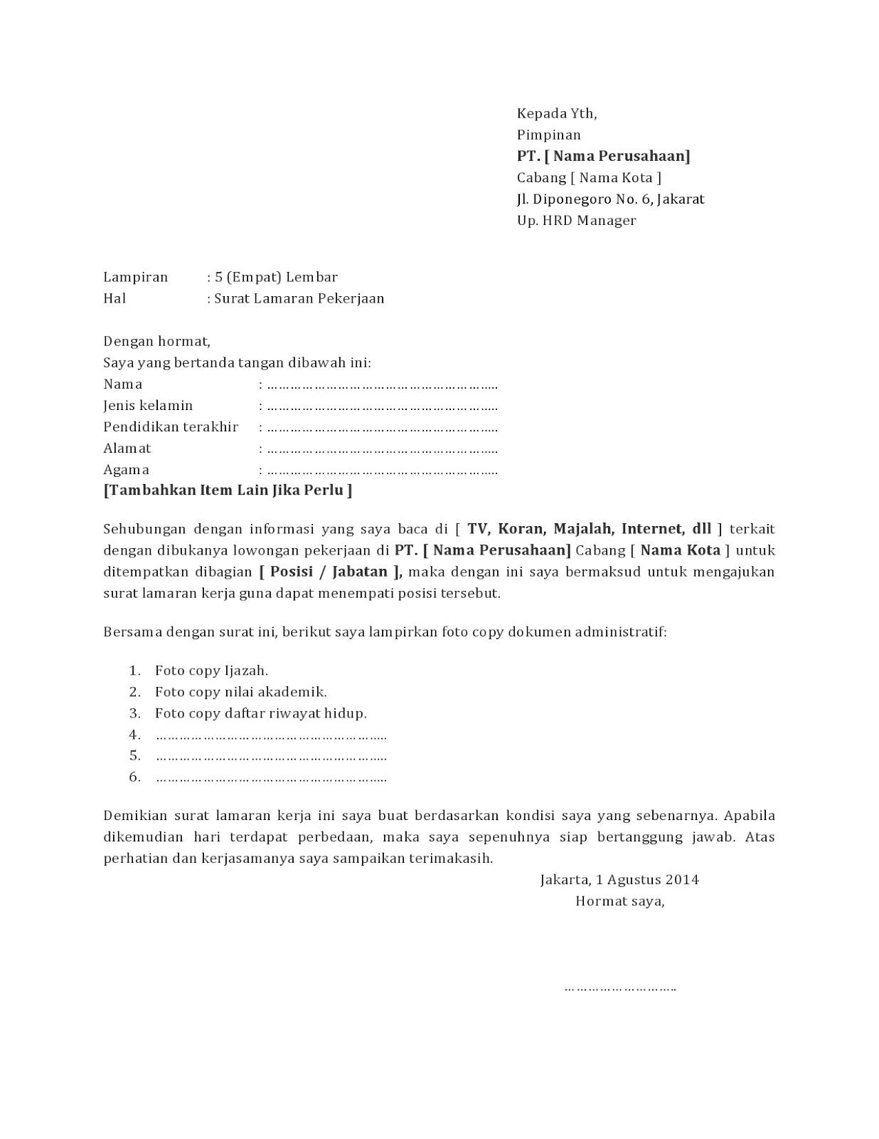 Contoh Surat Lamaran Kerja Cafe Dan Resto Guild Jobs