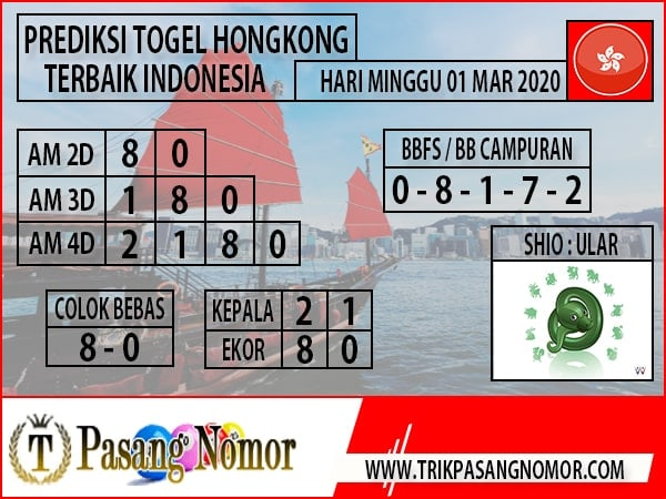 Prediksi Togel JP Hongkong Minggu 01 Maret 2020 - Prediksi Pasang Nomor