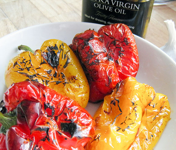 Roasted red and yellow peppers