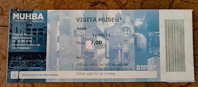 Ingresso para o Museu Histórico de Barcelona