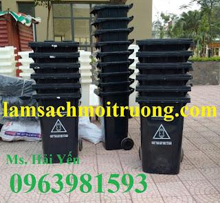 Bán thùng đựng rác y tế, thùng rác 240l màu đen, thùng rác bệnh viện giá rẻ