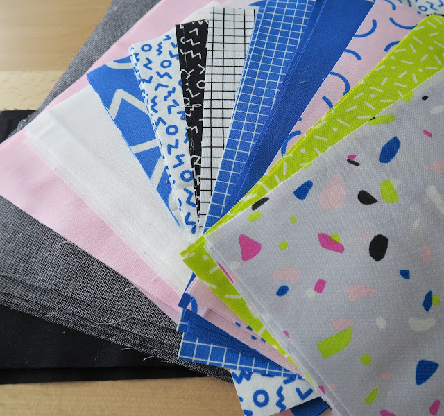 Luna Lovequilts - Fabric selection - Snap to Grid collection by Kimberly Kight, Kona Cotton and Essex Linen fabrics