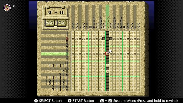 Mario's Super Picross Mario puzzle 8-H capitol beginning start hint