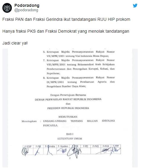 Beredar Dokumen Fraksi PAN dan Fraksi Gerindra ikut Tandatangani RUU HIP
