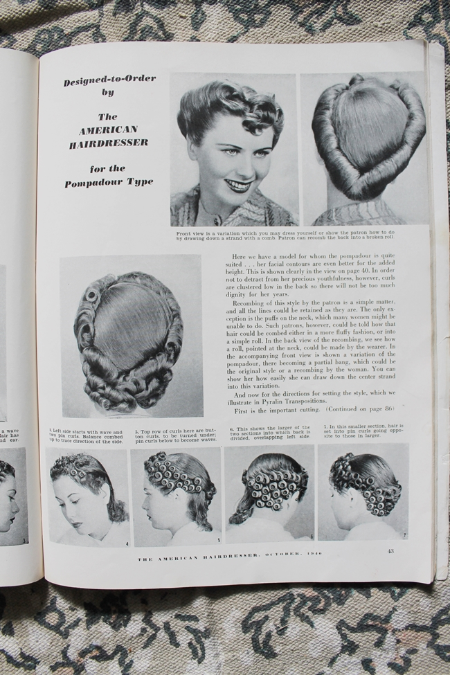 1940 pin curl victory roll updo tutorial from American Hairdresser magazine