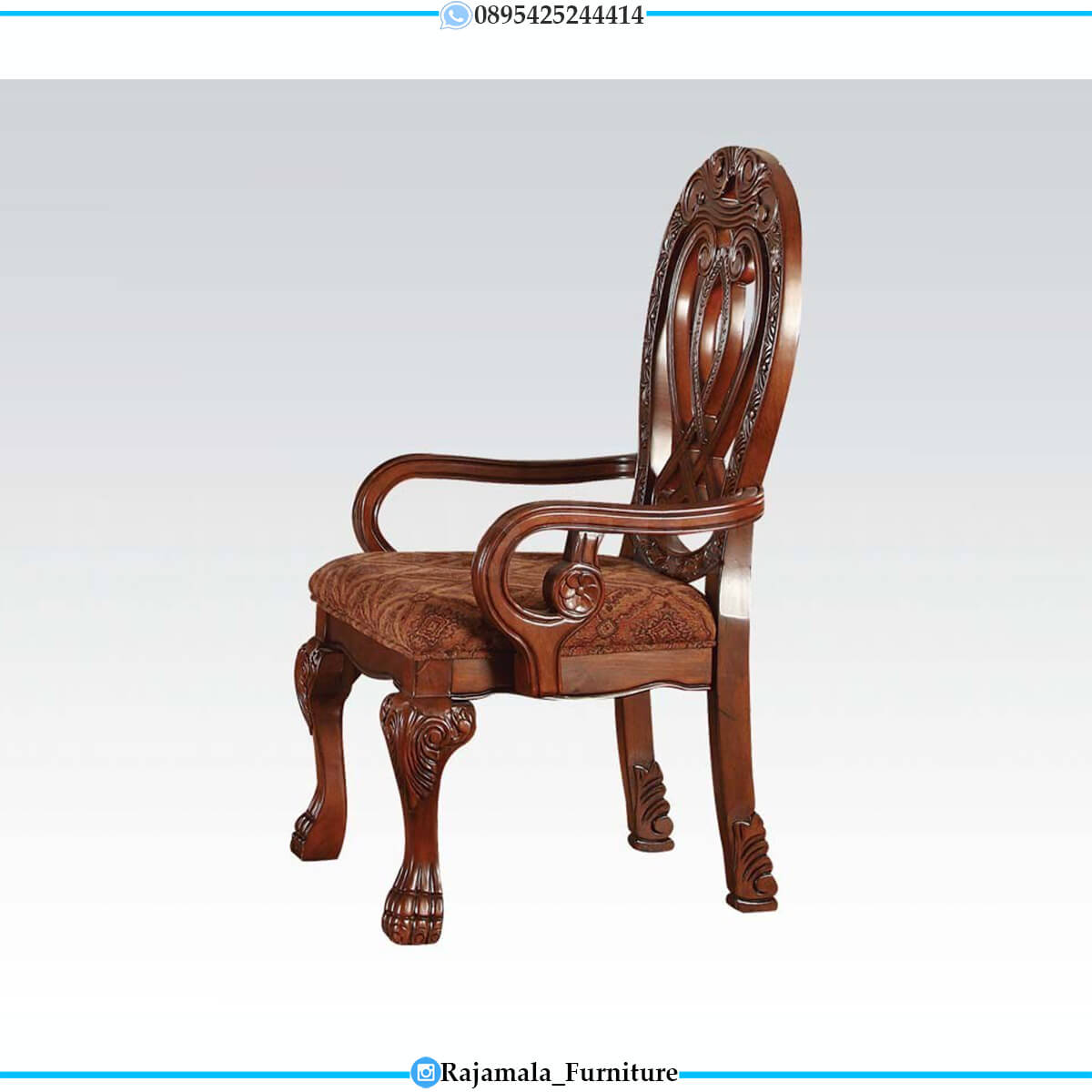 Jual Meja Makan Mewah Jati Natural Classic Salak Brown Color RM-0710