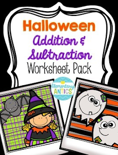 Halloween FREEBIE addition and subtraction fact worksheets and story problems.