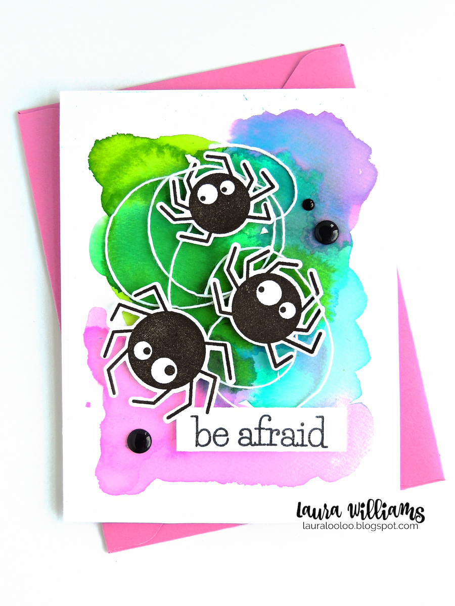 """There's no need to fear spiders today! The adorable Spider Trio on today's handmade Halloween card is friendly, funny - and fun to craft with! I'll admit, the first thing I'd think if I looked at this card is """"Who wants to cut out all those spiders? They're cute but . . . ."""" Not to fear - this super cute spider stamp set has a coordinating die set that is really easy to work with. Stamp your spiders and then pop the coordinating die on top and cut them out in a snap!"""