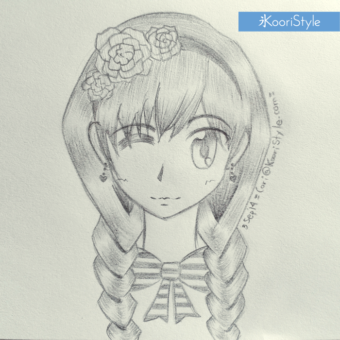 Koori Style KooriStyle Drawing Doodle Skecth Anime Ribbon Kawaii Roses Braids