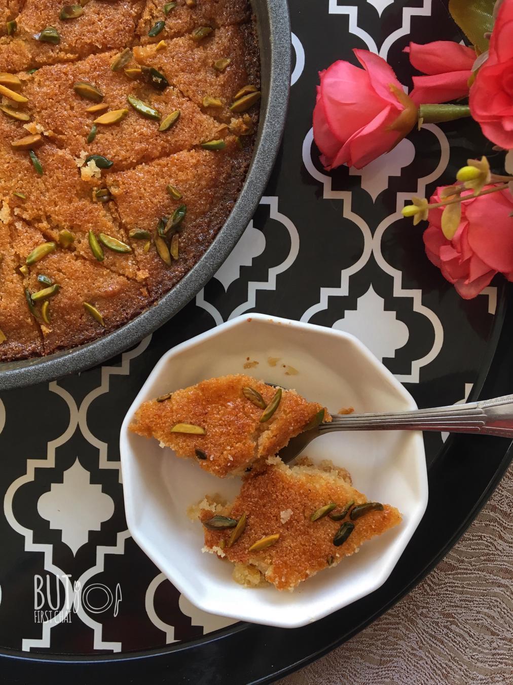Baked Rava Kesari | Semolina Saffron Cake