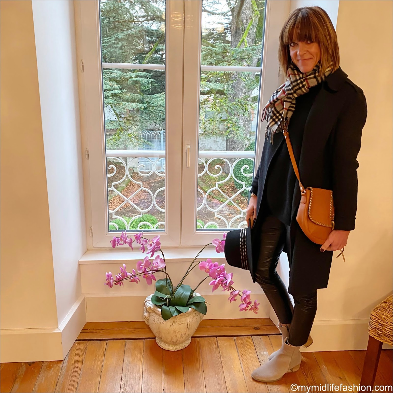 my midlife fashion, Joseph cashmere coat, Burberry wool scarf, John Lewis wool fedora, black leather cross body bag, acne studios dramatic jumper, Isabel Marant Etoile faux leather trousers, Ecco suede ankle boots
