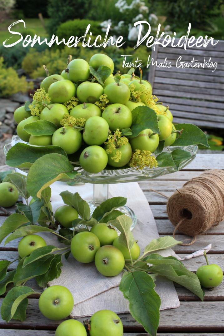 Sommerliche Dekoration mit Äpfeln
