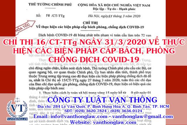 chỉ thị 16/CT-TTg ngày 31/3/2020, cách ly toàn xã hội, covid-19, luật vạn thông, công ty luật, dịch bệnh