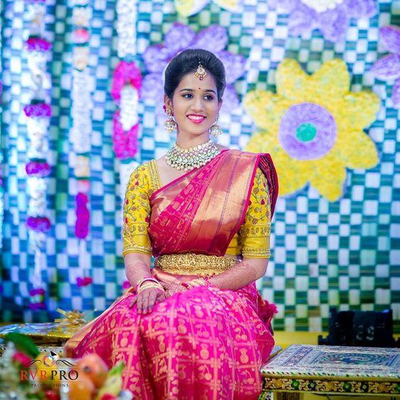 fef68490459e60 Yellow Pink Wedding Saree - Wedding Dress & Decore Ideas