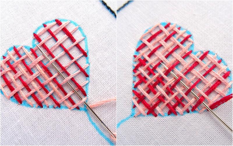 Hướng dẫn thêu trái tim dệt lưới - Hình 4